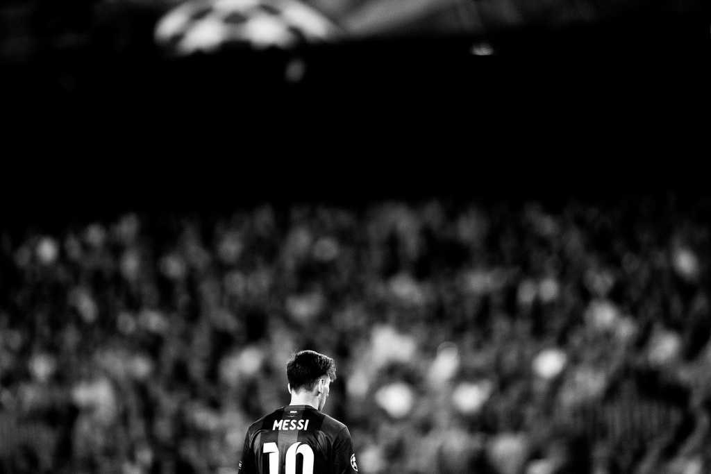 BARCELONA, SPAIN - MAY 06:  (EDITORS NOTE: Image has been converted to black and white, colour version not available) Lionel Messi of Barcelona is pictured during the first leg of UEFA Champions League semifinal match between FC Barcelona and FC Bayern Muenchen at Camp Nou on May 6, 2015 in Barcelona, Spain.  (Photo by Vladimir Rys Photography/Getty Images)
